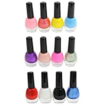 12 High Quality Assorted Mixed Colour Fashionable Matt Nail Polishes Varnishes for Nail Art by Kurtzy TM