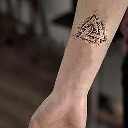 Yangll Triángulo Dotwork Etiqueta Engomada del Tatuaje Temporal ...