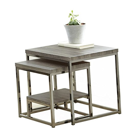 Steve Silver Company Lucia 2 Piece Nesting Tables, 20″ x 20″ x 20″, Grey Review