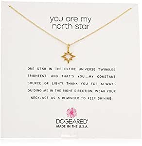 "Dogeared ReminderYou Are My North Star Necklace, Open North Star Gold Chain Necklace, 16"" + 2.75"" Extender"
