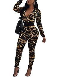 Womens 2 Piece Outfits Floral Print Jacket Suit Bodycon Pants Sweatsuits