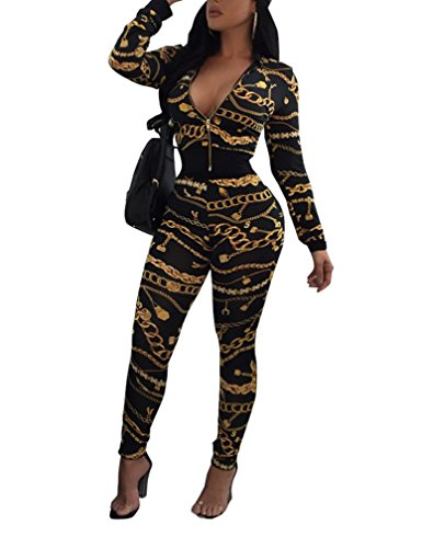 Womens 2 Piece Outfits Zipper Bomber Jacket Bodycon Sports Sweat Suit Black (Two Large Zipper)