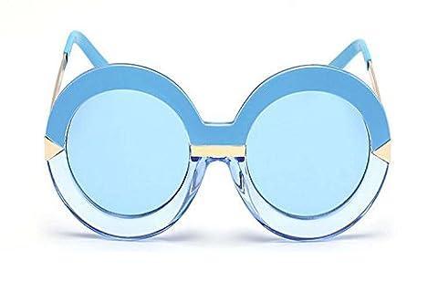 Darkey Wang Woman Fashion Arrow Bule-rimmed Bule Tablets Round Sunglasses - Revolution Rimless Eyeglasses
