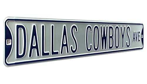 Fremont Die NFL Dallas Cowboys Silver Metal Wall Décor- Large, Heavy Duty Steel Street Sign