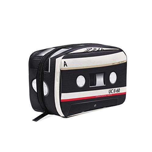FANTAZIO Cosmetic Bags for Women Audio Cassettes Pattern Make Up - Pattern Cassette