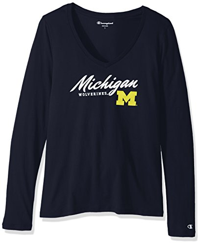 Champion NCAA Michigan Wolverines Women's University Long Sleeve V-Neck Tee, Large, Navy