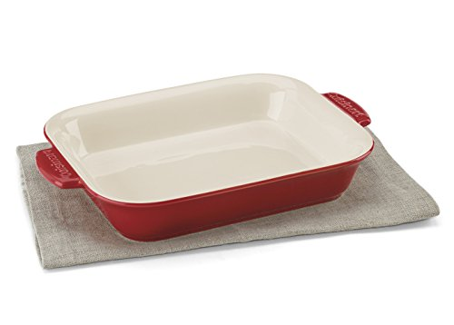 Cuisinart CCB30-27R Chefs Classic Ceramic Bakeware-2 Quart Medium Rectangular Baker, Red