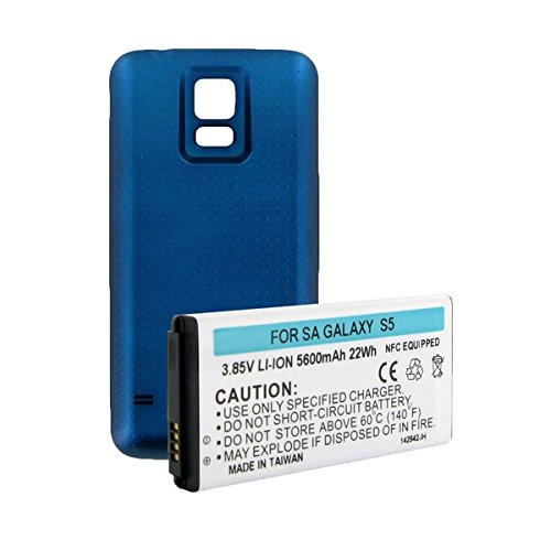 Samsung SM-G900A Cell Phone Battery (Li-Ion 3.85V 5600 mAh) - Replacement For Samsung Cellphone Battery - Equipped With NFC With Blue Cover