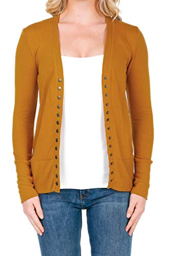 SHOP DORDOR 2039 Women's Button Down Long Sleeve Knit Cardigan Sweater ASH Mustard 1XL ()