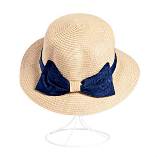 Ladies Straw Hat for Vacation Bow Fashion Women Summer Hat Wide Brim Beach Female Cap Outdoor Sun Protection Sunhat Panama,Khaki,Adult Size]()