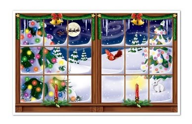 Window Scenes For Christmas - Snowy Christmas Insta-view 38in. X 62in. (1/pkg) Pkg/6