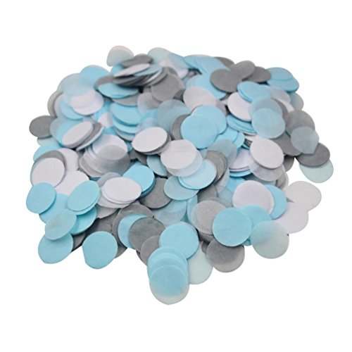 mybbshower blue gray white gender reveal tissue paper confetti dots