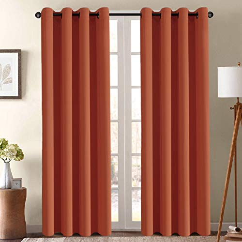 Ultra Soft Blackout Curtains for Bedroom 84 Inches Long Thermal Insulated Blackout Window Curtain for Living Room, Energy Efficicent Grommet Window Treatment Decorative Panel - Orange Ochre (1 Panel)
