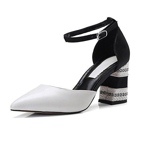 Confort Talón L0523 white Tacón Mujer KJJDE Para Peep Caminar Zapatilla Chanclas Toe WSXY Retro Zapatos Sandalias creamy YwYx8aXqC