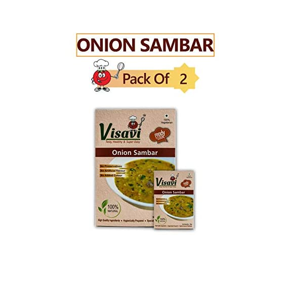 Visavi Food Ventures Tasty Healthy & Super Easy Onion Sambar Ready to Cook (100g) Pack of 2