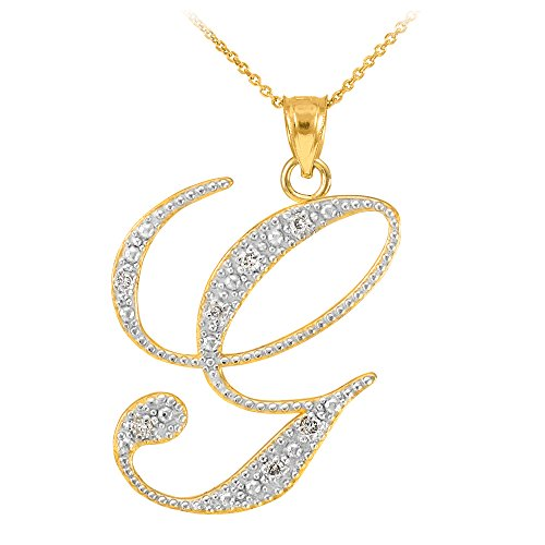 14k Yellow Gold Diamond Script Initial Letter G Pendant Necklace, ()