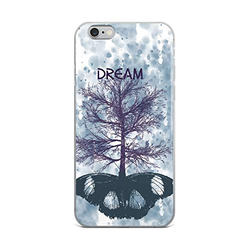 iPhone 6 Plus/6s Plus Case Anti-Scratch Creature Animal Transparent Cases Cover Tree Growing from Butterfly with The Word Dream Inspira Animals Fauna Crystal Clear