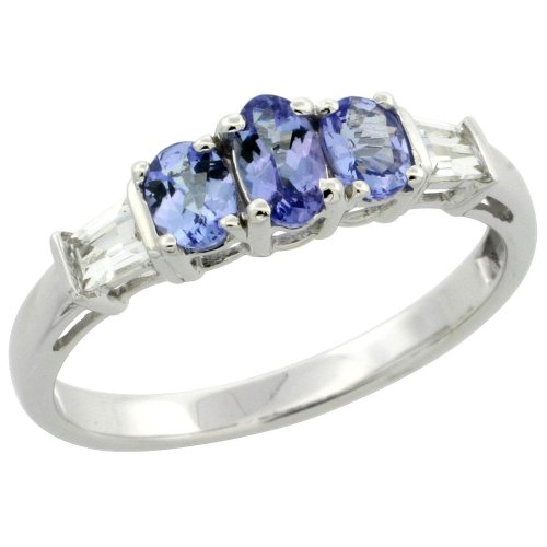 10k White Gold Natural Tanzanite 3-stone Ring Oval 5x3mm & 4x3mm White Sapphire Baguette Accent, size - 3 Stone Ring Tanzanite