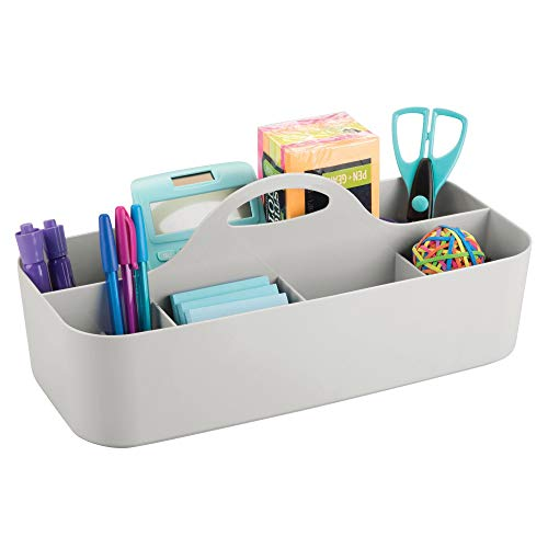 mDesign Large Office Storage Organizer Utility Tote Caddy Holder with Handle for Cabinets, Desks, Workspaces - Holds Desktop Office Supplies, Gel Pens, Pencils, Markers, Staplers, 4 Pack - Light Gray by mDesign (Image #6)