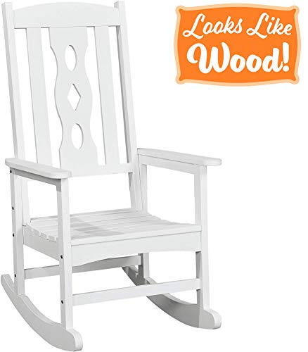PolyTEAK Curved Outdoor Rocking Chair, Powder White - Looks Like Wood - All Weather Waterproof Material - Poly Resin Rocker - Porch and Patio Chair - Feels Like Teak ()