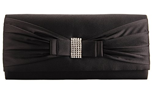 Pleated Bow Clutch - Grace Angel Women's Bow Rhinestones Evening Cocktail Party Clutch GALU4126E