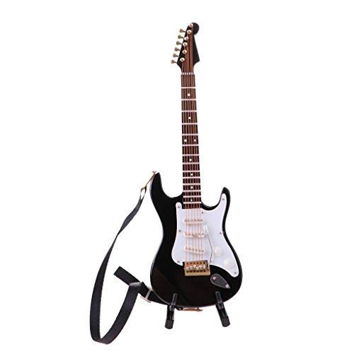 Homyl Miniature Black Finish Electric Guitar Model Toy Hobby Collectibles Gifts 1/6 Scale