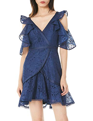 SYSYERAN Women's Mini Dress Classic V-Neck Design Exquisite Embroidery Summer Fashion Short Skirt