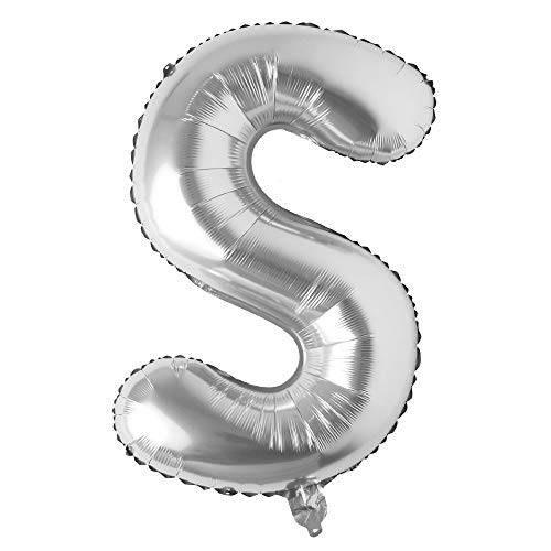 (32 inch Letter Balloons Silver Alphabet Number Balloons Foil Mylar Party Wedding Bachelorette Birthday Bridal Shower Graduation Anniversary Celebration Decoration (32 INCH Silver)