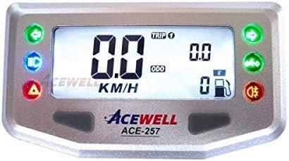 Ace 257 Multifunktionelles Motorrad Digitalinstrument Silber Geschwindigskeitsmesser Grau Blaue Beleuchtung Stück Auto
