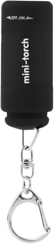 Leoboone port/átil USB Mini Llavero Linterna linterna recargable de 0,5 W 25LM el/éctrico compacto Antorcha linterna que acampa al aire libre