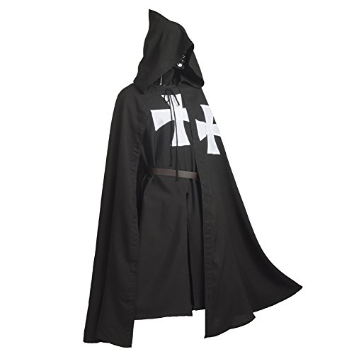 Medieval Templar Knight - BLESSUME Medieval Templar Knight Tunic Cloak Belt Cosplay Costume Set (Black 2)