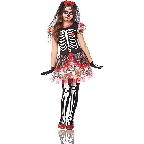 Day of Dead Skeleton Girl Kids Costume -