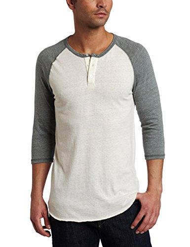 Alternative Men's Raglan 3/4 Sleeve Henley Shirt, Cream/Shale, Small ()