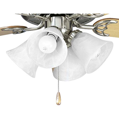 Progress Lighting P2610-09 4-Light Kit with White Washed Alabaster Style Glass for Use with P2500 and P2501 Ceiling Fans, Brushed Nickel ()