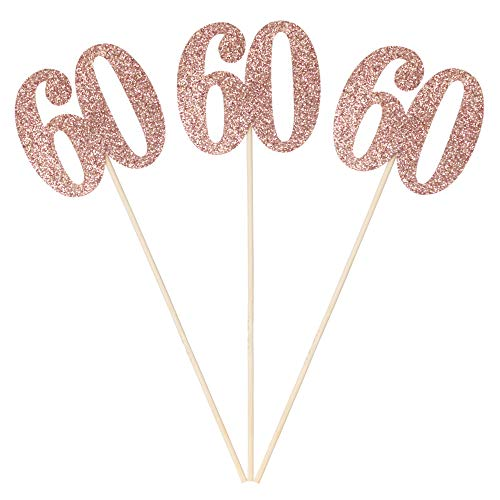 Centerpieces For 60th Birthday Tables (Set of 6 Number 60 Centerpiece Sticks Rose Gold Glitter 60th Birthday Table Centerpieces Flower Toppers Party)