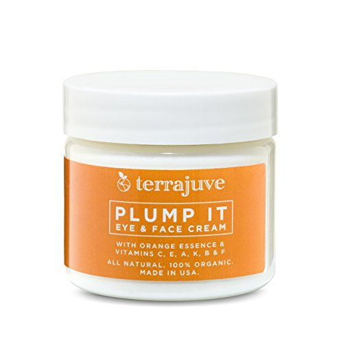 Terrajuve Plump It Eye & Face Cream Anti Aging Skin Care With Orange Essence & Vitamins C,E,A K, B & F All Natural, Organic Made in the USA