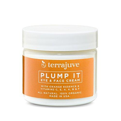 Terrajuve Plump It Eye & Face Cream Anti Aging Skin Care With Orange Essence & Vitamins C,E,A K, B & F All Natural, Organic Made in the USA