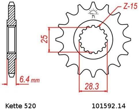 Kettensatz geeignet f/ür Yamaha YFM 700 R Raptor 06-19 Kette RK RR 520 GXW 98 ROT offen 14//38