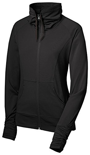 (Sport-Tek Women's Sport Wick Stretch Full Zip Jacket XL Black)