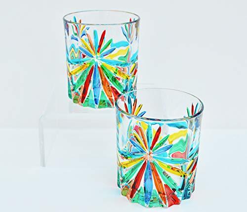 My Italian Decor Authentic Murano Highball Glasses, Star, Set of 2 (Painted Glass Hand Highball)