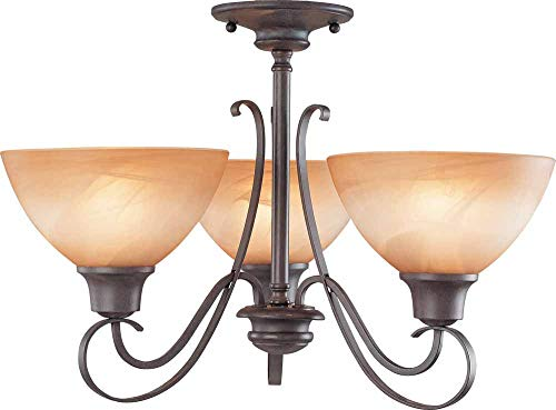 Volume Lighting V2643-53 Altamonte 3 Light Frontier Iron Chandelier or semi-Flush Ceiling Mount, 20