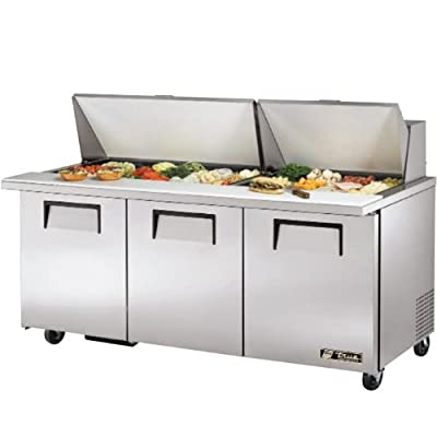 "True TSSU-72-30M-B-ST 72"" 3 Door Refrigerated Sandwich Prep Table | (30) 1/6 Pan Capacity"