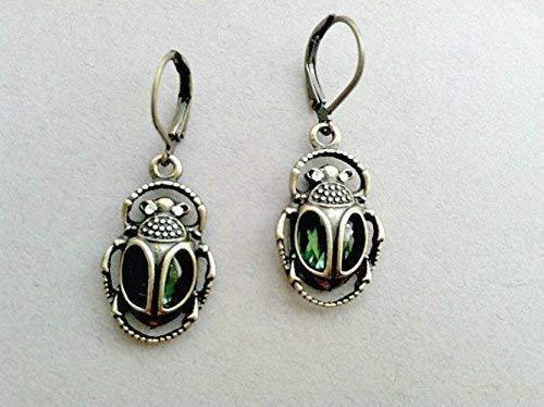 Emerald Cleopatra Beetle Dangle Earrings Egypt, Pharaoh, Green (Scarab Earrings)