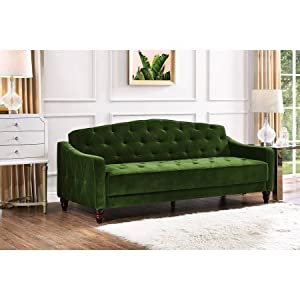 Novogratz Vintage Tufted Sofa Sleeper II - Green Velour