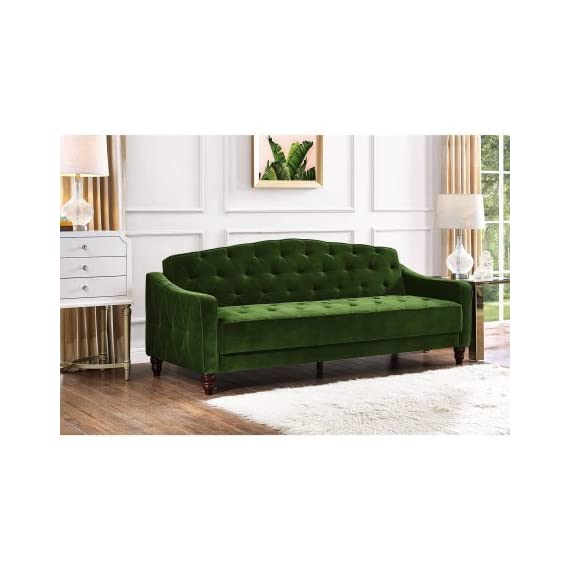 Novogratz Vintage Tufted Sofa Sleeper II (Green Velour) (Green Velour) -  - sofas-couches, living-room-furniture, living-room - 412RQmi9s4L. SS570  -