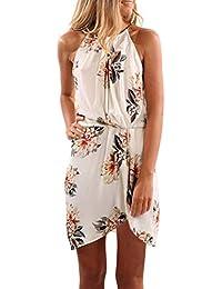 14dbd923635 Womens Summer Halter Neck Floral Print Sleeveless Casual Mini Dress