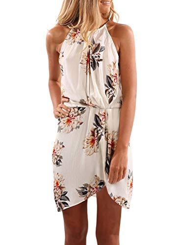 Halter Draped Mini - Happy Sailed Womens Casual Boho Floral Short Dress Pleated Party White Mini Dress Large