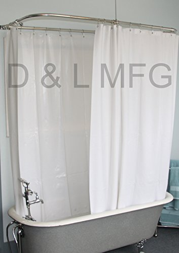 Extra Wide Vinyl Shower Curtain for a Clawfoot Tub/white Less Magnets 180