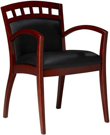 Mayline VSC5A Wood and Leather Guest Chair Black Leather Sierra Cherry - Cherry Chair Sierra Guest