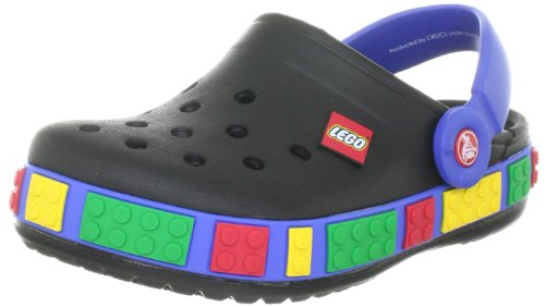 Crocs Crocband Lego Clog (Toddler/Little Kid),Black/Sea Blue,4-5 M US...